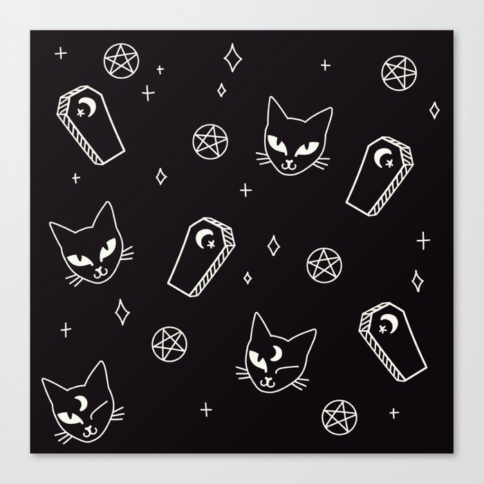 Cute Goth Kitties & Coffins Canvas Print