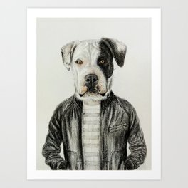 dog in leather Art Print