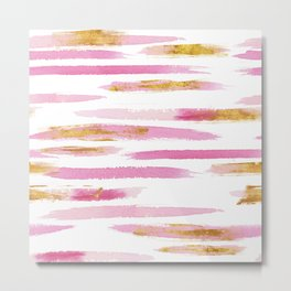 Chic Pink and Gold Watercolor Brush Strokes Metal Print