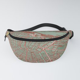 Amsterdam city map pop Fanny Pack