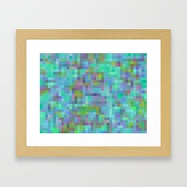 geometric square pixel pattern abstract in green blue pink Framed Art Print