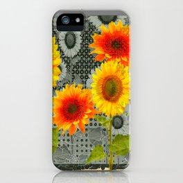 GREY GRUBBY SHABBY CHIC STYLE SUNFLOWERS ART iPhone Case