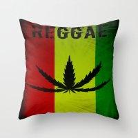 reggae Throw Pillows featuring REGGAE by shannon's art space