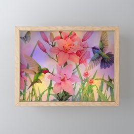 Painterly Hummingbirds And Flowers Framed Mini Art Print