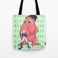miley cyrus Tote Bags featuring Miley Cyrus by Lizz Buma