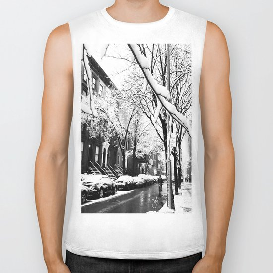 Black and White Photo of the Beautiful Brooklyn Heights covered in icy snow Biker Tank