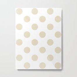 Large Polka Dots - Pearl Brown on White Metal Print