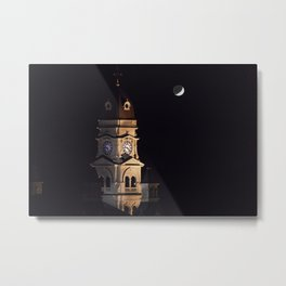 Crescent moon and earth shine at city hall clock tower Metal Print