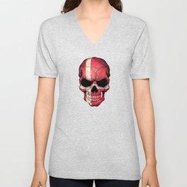 Dark Skull with Flag of Denmark Unisex V-Neck