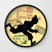 tintin Wall Clocks featuring Run Tintin, Run by ikado