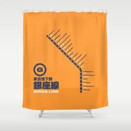 Ginza Line Tokyo Train Station List Map - Orange Shower Curtain