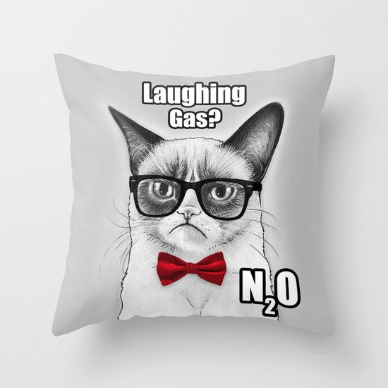 Grumpy Chemistry Cat Geek Science Meme Whimsical Animals in Glasses Throw Pillow