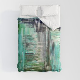 AQUATIC COMMOTION in Color - Textural Ocean Beach Nautical Abstract Acrylic Painting Wow Winter Xmas Comforters