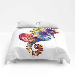 Rainbow Seahorse, seahorse art design Comforters
