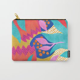 Bold Flower Pattern Yellow Background Carry-All Pouch