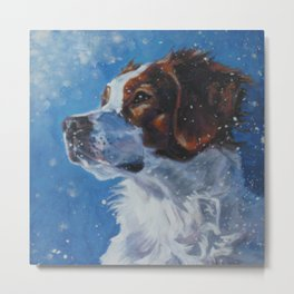 Brittany Spaniel dog art portrait from an original painting by L.A.Shepard Metal Print
