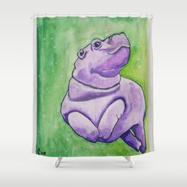 Baby Hippo Watercolor Shower Curtain