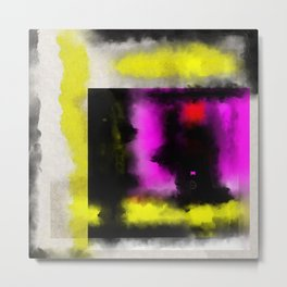 Confined - Abstract, geometric oil painting in red, black, yellow and purple Metal Print