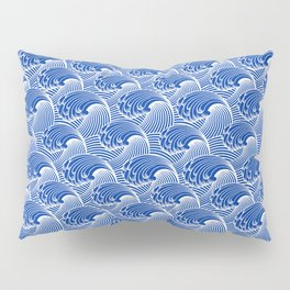 Vintage Japanese Waves, Cobalt Blue and White Pillow Sham