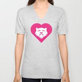 Wildcat Mascot Cares Pink Unisex V-Neck