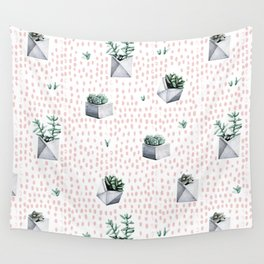 Potted Succulents Pink Polka Dots Wall Tapestry