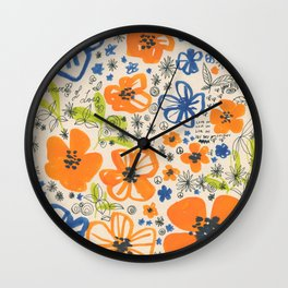 Summer 67 -colorful ink floral pattern Wall Clock