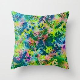 Neon Marble Rainbow Throw Pillow