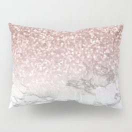 Sparkle - Glittery Rose Gold Marble Pillow Sham