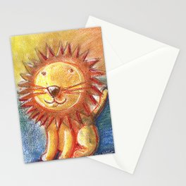Lion For Children Pastel Chalk Drawing Stationery Cards