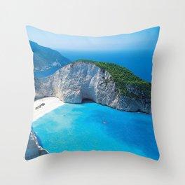 smugglers cove wreck summer sea bay navajo island of zakynthos greece Throw Pillow