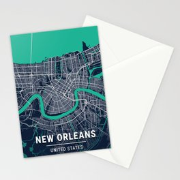 New Orleans Blue Dark Color City Map Stationery Cards