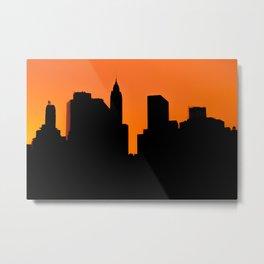 Lower Manhattan Silhouette Metal Print