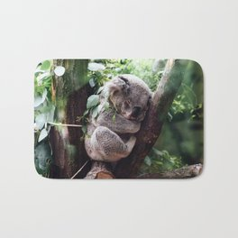Cute Koala relaxing in a Tree Bath Mat