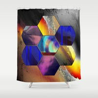hexagon Shower Curtains featuring hexagon II by donphil
