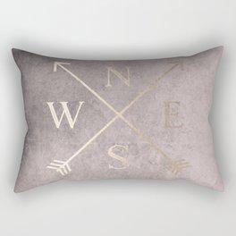 Gold on Pink Blush Distressed Compass Adventure Design Rectangular Pillow
