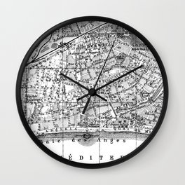 Vintage Map of Nice France (1914) BW Wall Clock