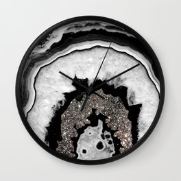 Gray Black White Agate with Silver Glitter #2 #gem #decor #art #society6 Wall Clock