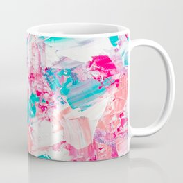 Modern bright candy pink turquoise pastel brushstrokes acrylic paint Coffee Mug