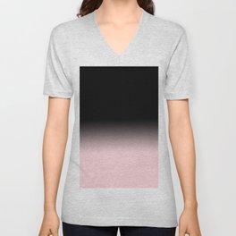 Modern abstract elegant black blush pink gradient pattern Unisex V-Neck