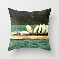 Boats on the Dock Throw Pillow