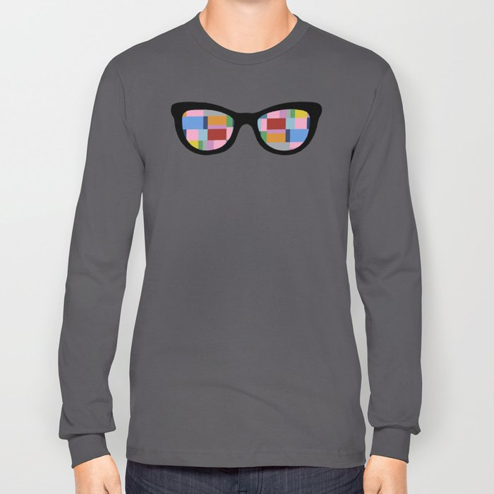 Square Eyes on Grey Long Sleeve T-shirt
