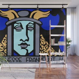 Jugendstil Einfuhrmesse Frankfurt blue Wall Mural