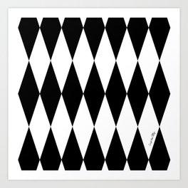 Harlequin - black/white Art Print