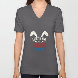 Every Bunny Was Kung Fu Fighting Bunny Unisex V-Neck
