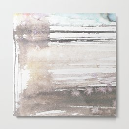 brown blue abstract watercolor Metal Print