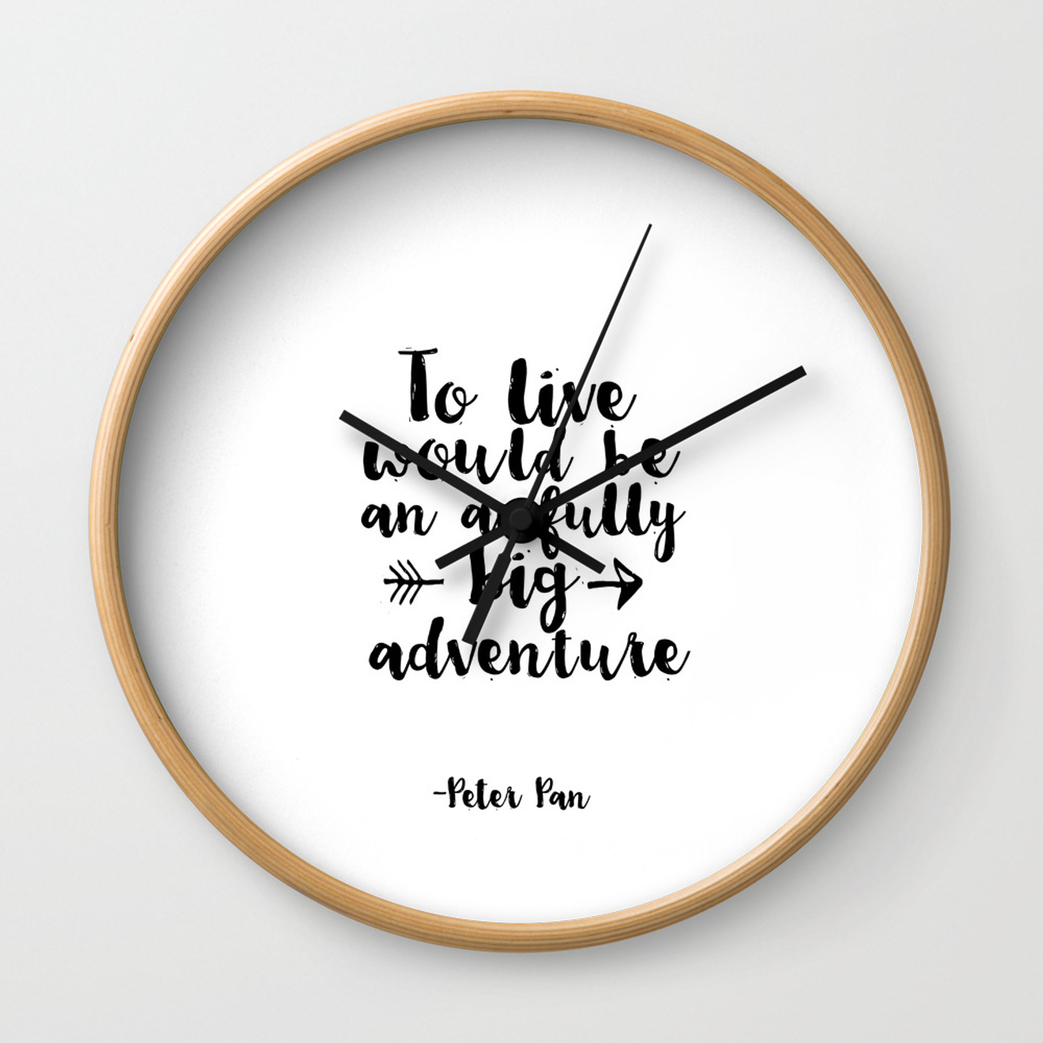 Nursery Prints Kids Gift Printable Peter Pan Quotes To Live Will Be An Awfully Adventure Wall Clock
