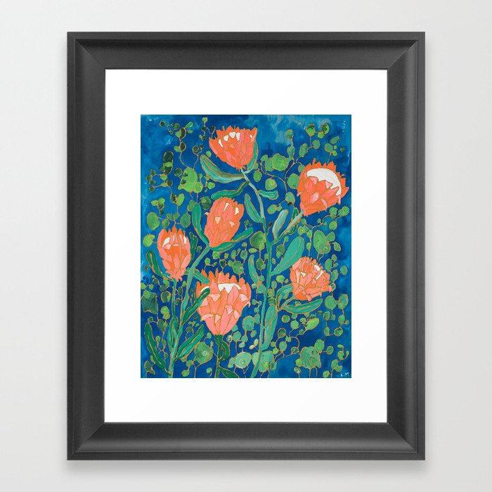Coral Proteas on Blue Pattern Painting Gerahmter Kunstdruck