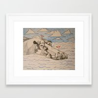 hippo Framed Art Prints featuring Hippo by Caesarie
