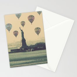 Balloons over Lady Liberty Stationery Cards