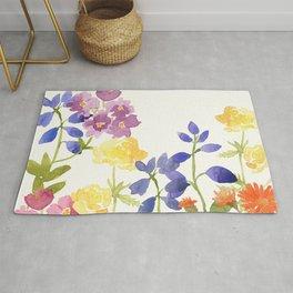 Scottish Wild Flowers Watercolor Painting Rug